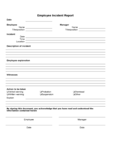 Employee Incident Report - 4 Free Templates In Pdf, Word within Incident Report Form Template Word