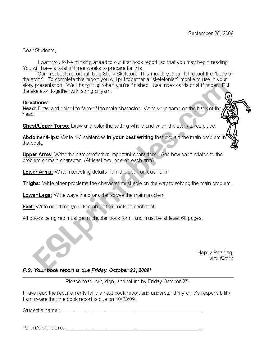 English Worksheets: Story Skeleton In Story Skeleton Book Report Template