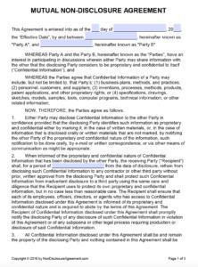 Free Mutual Non-Disclosure Agreement (Nda) | Pdf | Word (.docx) throughout Nda Template Word Document