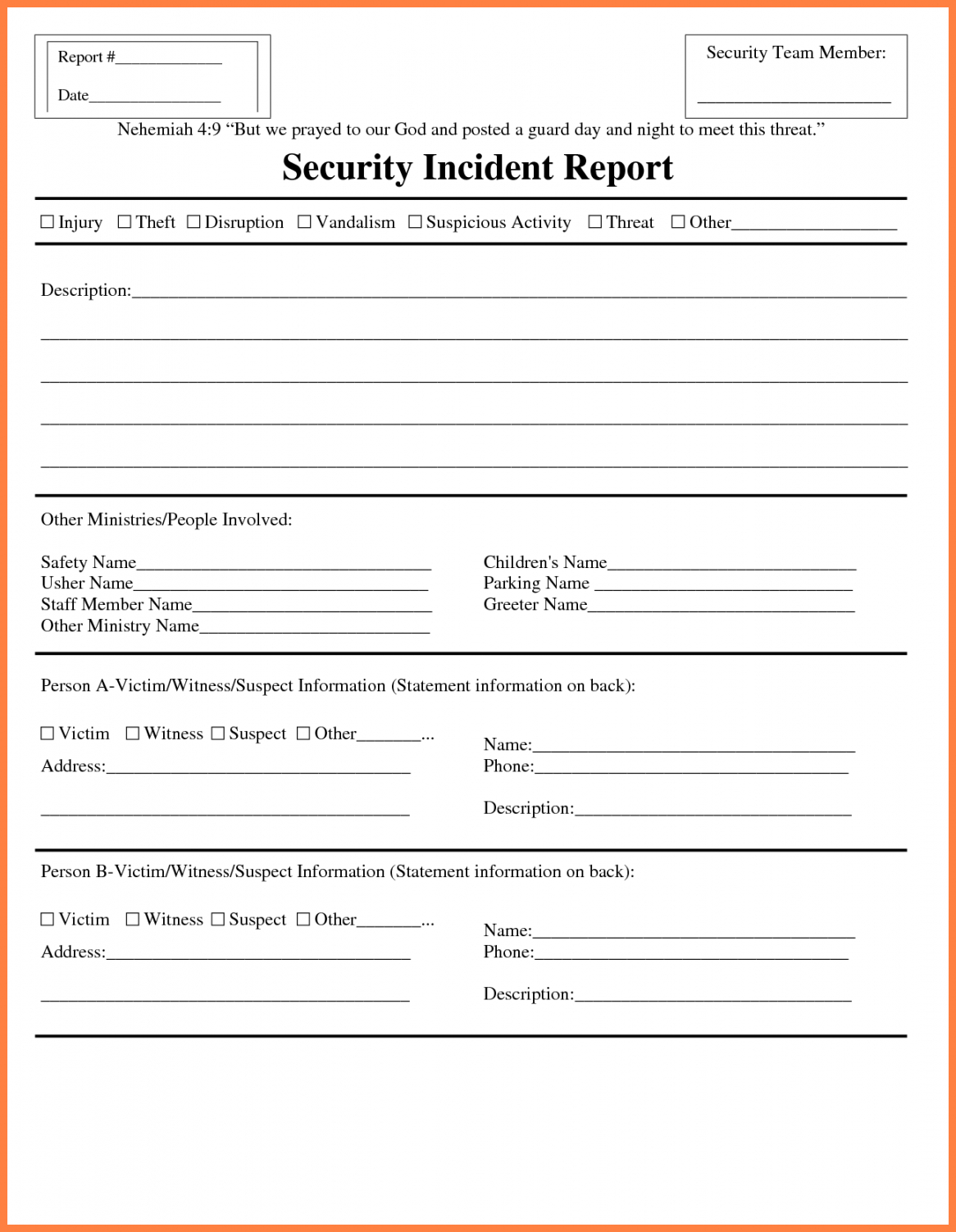 Information Technology Incident Report Template Pertaining To Incident Report Form Template Doc