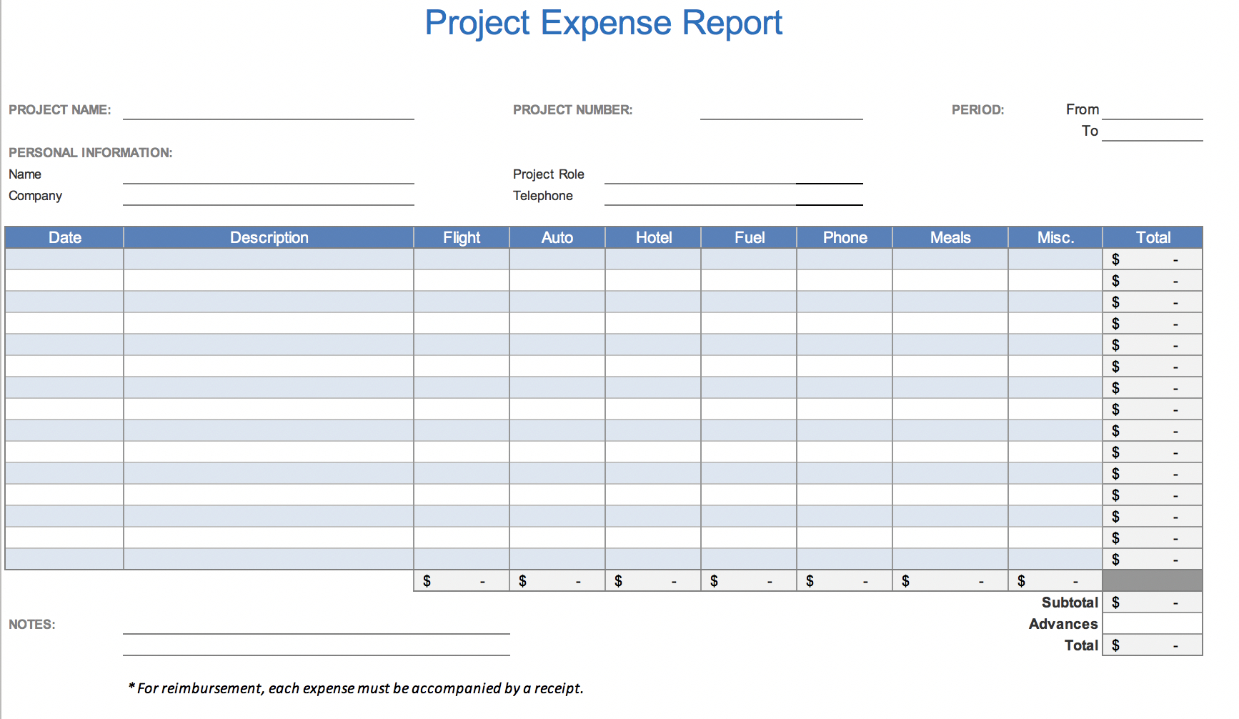 The 7 Best Expense Report Templates For Microsoft Excel With Monthly Expense Report Template Excel